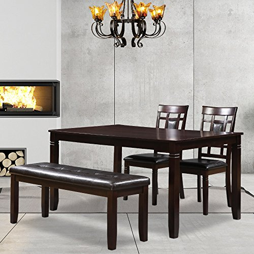 Harper&Bright Designs Upholstered Dining Bench Dining Room Table Bench, Dark Brown (Bench Upholstered Narrow)
