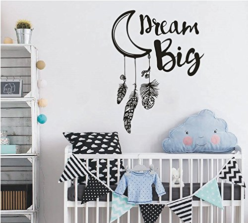 YOYOYU ART HOME DECOR Moon Dream Catcher Wall Decal Vinyl Decoration Decor Sticke for Kids Room Nursery Room Dream Big Quotes Dream Catcher Wall Art Sticker Bedroom Mural SYY167 (BLACK, 57x77cm)