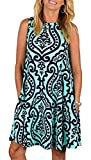 Luranee Womens Casual Sleeveless Dresses Knee Length Tunic Dress with Pockets (Large, Blue)