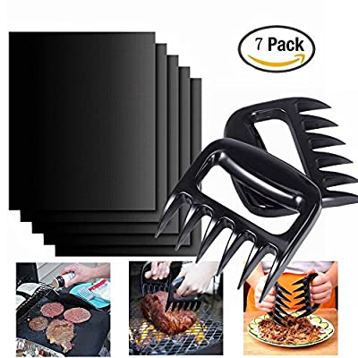 BBQ Grill Mat BBQ Shredder Claws - 5 Pack Non Stick Grill Mats 2 Pack BBQ Shredding Handling Carving Food Claw Handler Set - Essential Grilling Accessories and BBQ Tools