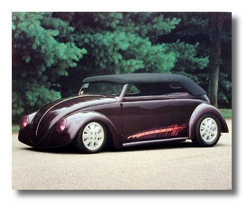 Vw Bug Vintage Classic Chopped Volkswagen Car Wall Decor Picture Art Print Poster