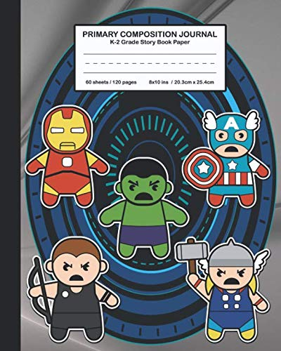 Primary Composition Journal K-2 Grade Story Book Paper: Cute and cool Superhero Avenger Design for Boys and Girls, Picture drawing and Dash Mid Line hand writing paper