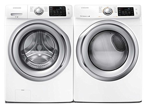 Samsung Appliance White Front Load Laundry Pair with WF42H5200AW 27″ Washer and DV42H5200EW 27″ Electric Dryer