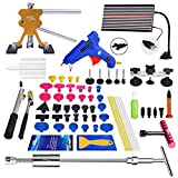 Super PDR 68Pcs Auto Body Paintless Dent Removal Tools Kit, LED Reflect Light Board Dent Lifter Bridge Puller Set Hot Glue Gun Glue Sticks For Car Hail Damage And Door Dings Repair