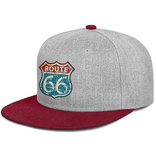 Unisex Hip Hop Trucker Cap-Vintage Route Sixty Six Road Sign Style Low Profile Snapback Hat Sport Cap Outdoors