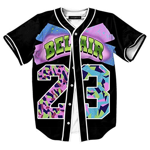HOP FASHION Youth Unisex Boy Girl Baseball Jersey Short Sleeve 3D Colorful 23 Print Dance Team Uniform Tops Shirt HOPM007-01-L (Nicky From Fresh Prince Of Bel Air Now)
