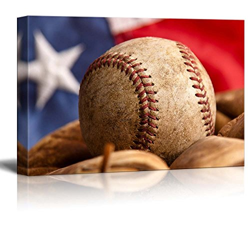 America's Pastime Baseball and mitt in Front of The Flag Weathered Ball and Glove