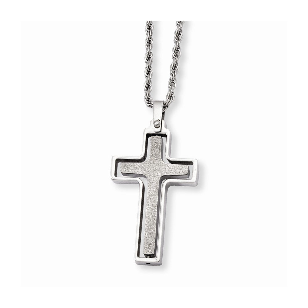 Stainless Steel Polished /& Laser Cut Cross Pendant Necklace