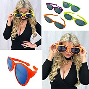 Adorox 12 pack Jumbo Novelty Sun Glasses - Parties, Raves, Joke Sunglasses Party Favors