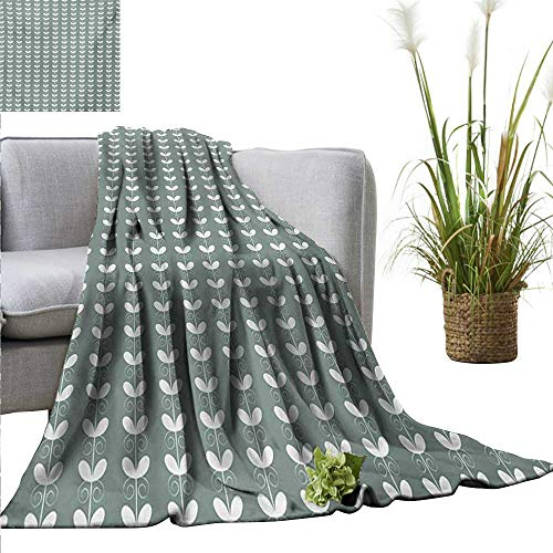 AndyTours Picnic Blanket,Nature,Retro Textured French Late Baroque Style Tulip Branches Botany Inspired,Pale Sage Green White,Colorful | Home, Couch, Outdoor, Travel Use 50
