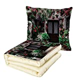 iPrint Quilt Dual-Use Pillow Summer Modern Summer Resort Cottage House Door and Windows with Colorful Flowers and Plants Multifunctional Air-Conditioning Quilt Multicolor