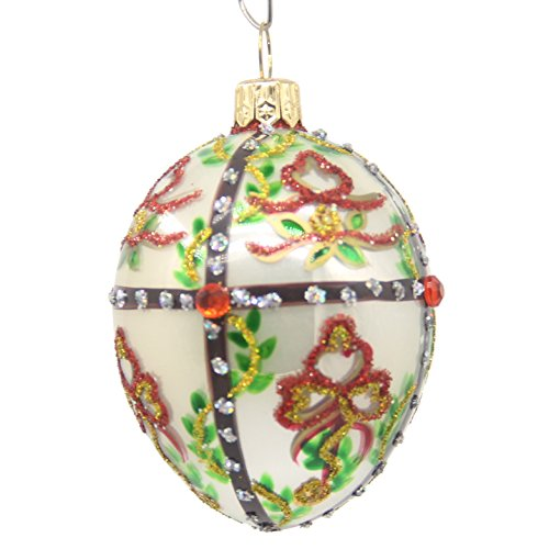 "3"" CDL Glass Blown egg Ornaments decorated with flower and s"