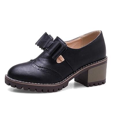 4639440b32ec Women s Platform Oxfords Loafer Bowknot Slip-On Mid-Heel Wedge Oxford Shoes  Dress Loafers
