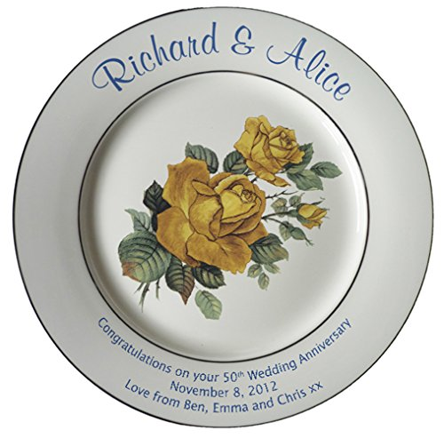 (Heritage Pottery Personalized Bone China Commemorative Plate for A 50th Wedding Anniversary - Yellow Rose Design with 2 Gold Bands)