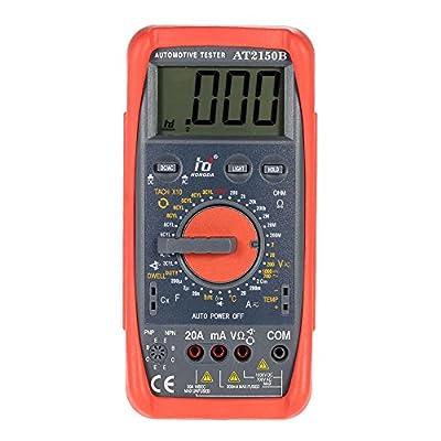 KKmoon HD AT2150B Automotive Meter Tester Digital Multimeter Tachometer Cap. Temp. Tester Sensor w/ LCD Backlight