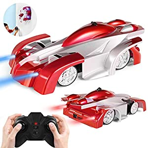 SGILE Remote Control Car Toy, Rechargeable RC Stunt Wall Climber Car with Mini Controller, Dual Mode, 360° Rotating and LED Head Gravity-Defying,Boys Girls Kids Toy for Birthday Present Gift,Red
