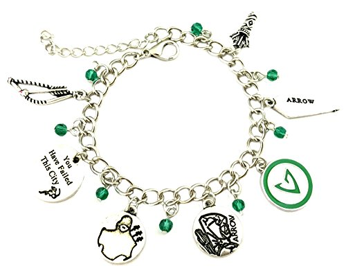 Green Arrow Charm Bracelet DC Comics Movies Cartoons Superhero Logo Theme Stephen Amell Premium Quality Detailed Cosplay Jewelry Gift Series