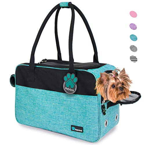 PetAmi Airline Approved Dog Purse Carrier   Soft-Sided Pet Carrier for Small Dog, Cat, Puppy, Kitten   Portable Stylish Pet Travel Handbag   Ventilated Breathable Mesh, Sherpa Bed (Turquoise)