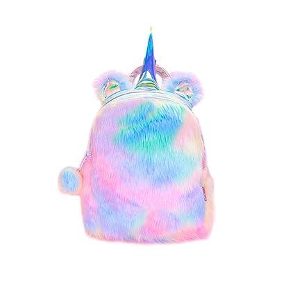 Felpa linda Mochila Unicornio Fluffy Rainbow Unicorn Mochila ...