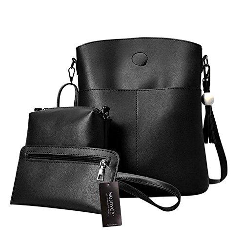 Women Purse Beads Crossbody 3 Black Set Coin Card Tote Domybest Bag Bags Pcs Tassel Handbags Wooden zF6UcqIA