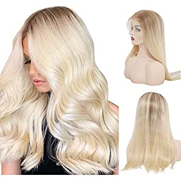 BESFOR Brown Root Blonde Lace Front Wigs Pre Plucked Long Glueless Natural Straight 13×4 Lace Wigs Half Hand Tied Thick Human Hair Wig for Women Makeup Wear 20 Inch