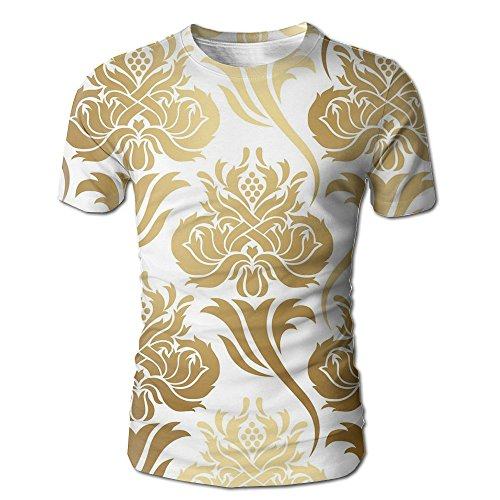 Edgar John Damask Ombre Abstract Image With Floral East Asian Inspired Details Print Decorative Men's Short Sleeve Tshirt L - John Abstract Print
