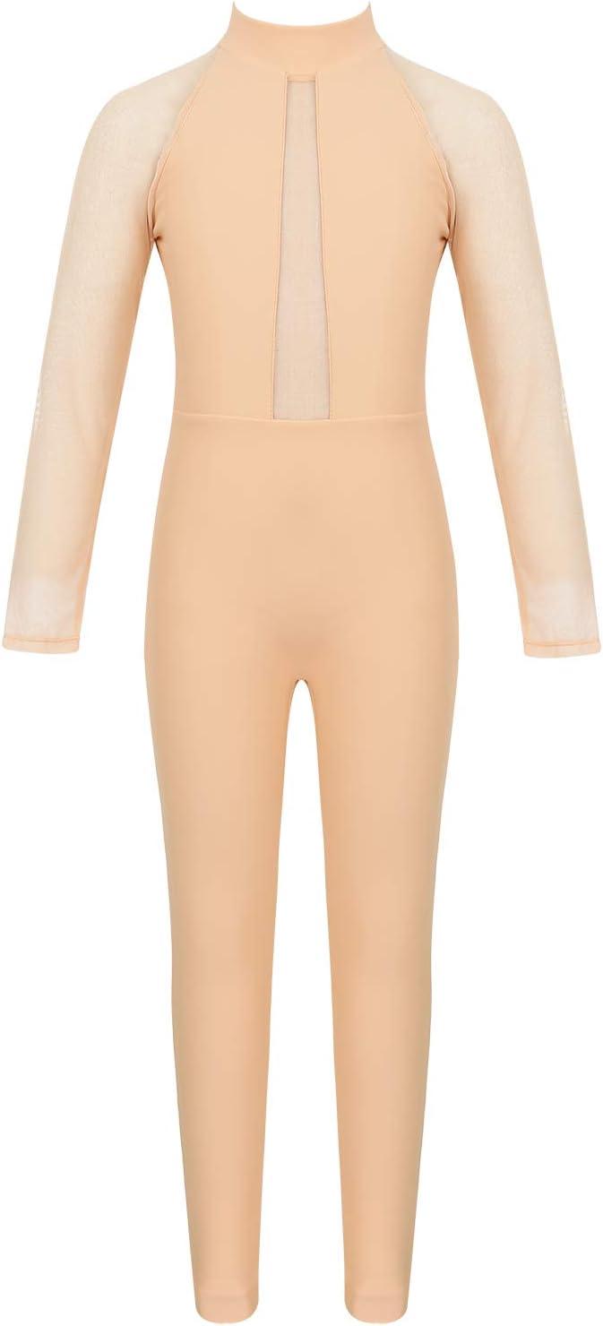 iixpin Enfant Fille Justaucorps de Danse Acad/émique Gym Body Collant Respirant /Élastique Combinaison Pantalon Col Montant /à Manche Longue Transparent en Maille 5-14 Ans