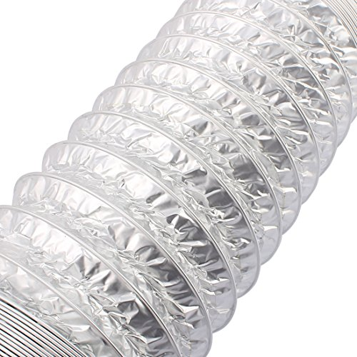 uxcell 5 Inches Aluminum Foil Hose Ducting Flexible Pipe Ventilation 10M Length w Clamps by uxcell (Image #1)
