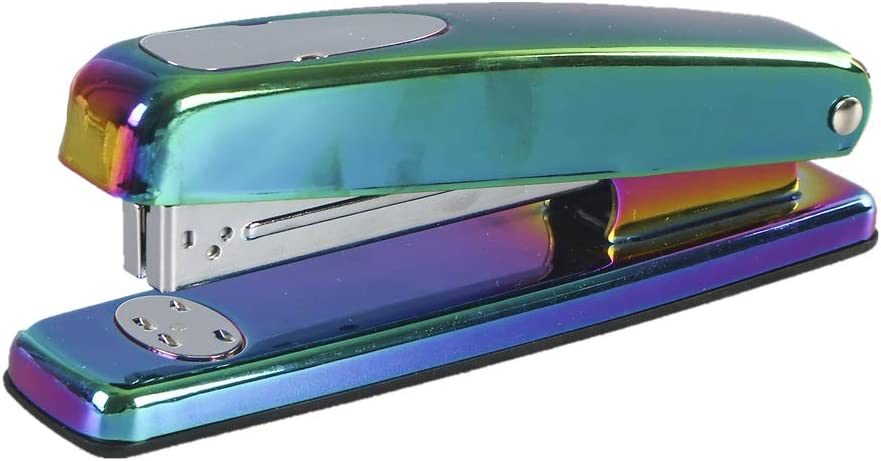 Rainbow Stapler Metal Holographic Colorful Desktop Manual Staplers 15 Sheets Capacity with Classic Modern Design and Non-Slip Base, Sleek Office Desk Accessories Gift Idea (Rainbow Style)