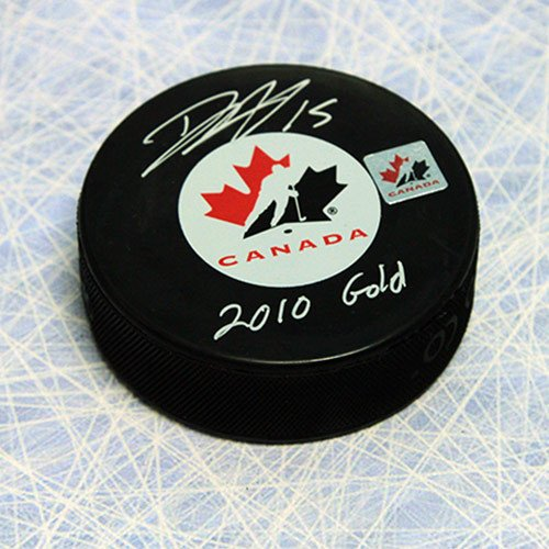 Dany Heatley Team Canada Autographed 2010 Gold Puck - Authentic Autographed Autograph