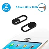 Webcam Cover 0.7mm THIN - Magnet Slider Camera cover - Protects your privacy, Stops Webcam Spying, Fits Smartphone Laptops Macbooks PCs Tablets and All-in-one desktops (Black(2pack))
