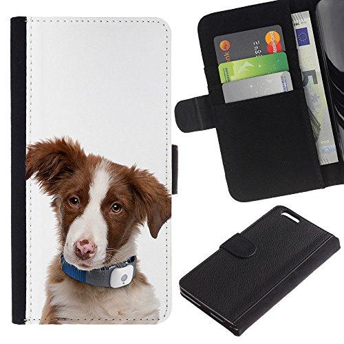 LASTONE PHONE CASE / Luxe Cuir Portefeuille Housse Fente pour Carte Coque Flip Étui de Protection pour Apple Iphone 6 PLUS 5.5 / Australian Shepherd Sheep Dog Puppy