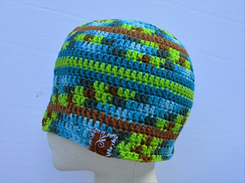 BlueBear Original Turquoise Camouflage Cotton Crochet Beanie Hat