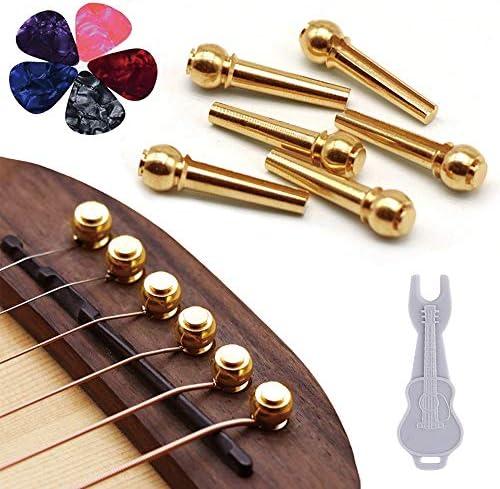 6Pcs Echte Knochenmaterial Akustikgitarre Bridge Pins mit Pearl Shell Dot G1Y9