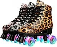 Leopard Classic Roller Skate Shoes,PU Leather Double-Row 4 Wheel Double Row Roller Skates for Women, Unisex In
