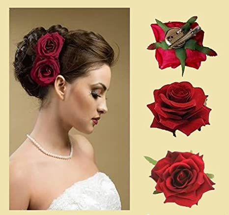 MAJIK Colorful Artificial Flowers Hair Clips/Pins For Women\u0027s and Girls  Hair Accessories, 2 Pcs, 10 Gram, Pack Of 1 (Red)