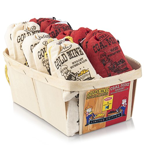 Gum Old Fashioned - Old Fashioned Bubble Gum Candy: Fruit Flavor Chewing Gum in Individual Drawstring Bags - Vintage Assorted Bulk Candy Packs for Parties and Special Events - 12 Coal Mine Bags and 12 Gold Mine Bags
