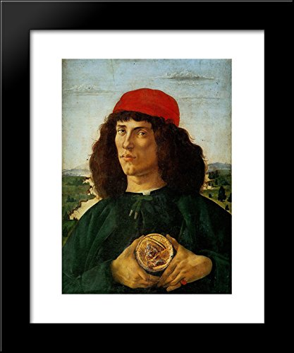 (Portrait of a Man with the Medal of Cosimo 20x24 Framed Art Print by Sandro Botticelli)
