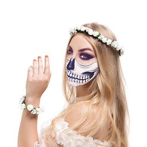 Valdler Halloween Party Decor Foam Paper Rosebud Flower Crown with Wrist Flower Ivory (Makeup Halloween Hijab)