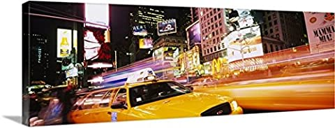 Great BIG Canvas Gallery-Wrapped Canvas entitled Yellow taxi on the road, Times Square, Manhattan, New York City, New York (72 Hours New York Times)