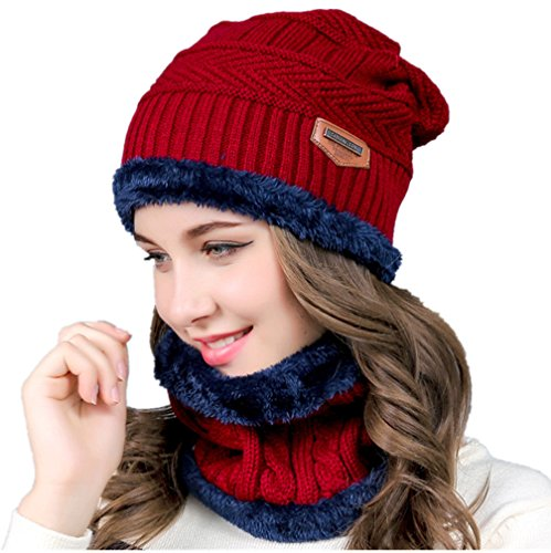 Knit Hat Skull Cap - Hellofuture Beanie Hat Skull Cap Warm Knit Hat Scarf Set for Men and Women Christmas Gift Set (Wine Red)