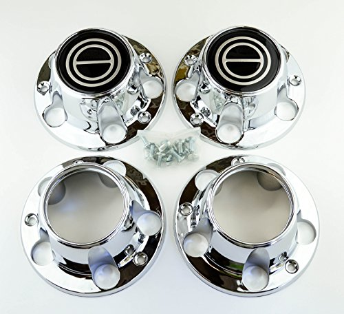 Ford Truck Bronco Van - BB Auto Supply Set of 4 New 1980-1996 Ford F150 Truck Bronco Van 4x4 Wheel Hub Center Caps Chrome Black 2 Open front 4wd 4 wheel drive