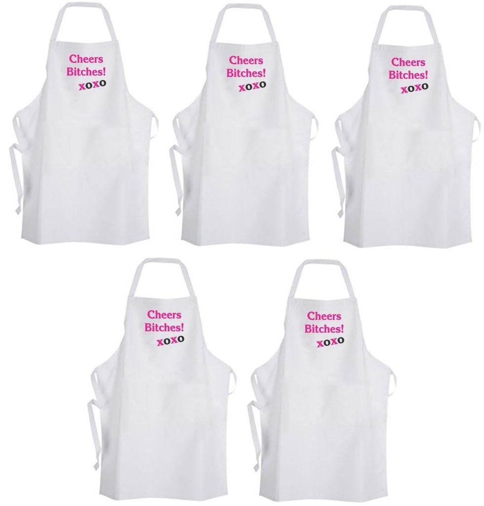Set 5 Cheers Btches! Xoxo – Adult Size Aprons - Bachelorette Sorority Chef Cook by Aprons365