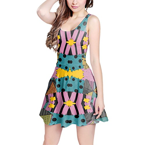 Ragdoll Patchwork Sally Sleeveless Flared Skater Dress Pink