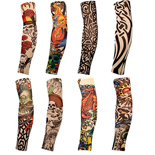 8PCS Temporary Tattoo Sleeves Arm Cooling Cover Up Art Motorcycle UV Sun Protection (8PCS) (Best Homemade Tattoo Machine)