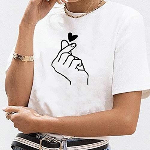 divertenti Da Donna Panpany Maniche Stampata Shirt Estive Vintage T Moda Magliette Cuore A Corte 2 Tumblr Manica Ragazza Corte Bianca Maglietta ppBwaE