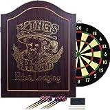 TGT King's Head Value Dartboard Cabinet Set - Dark Wood