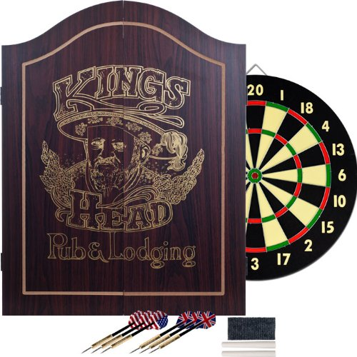 TGT King's Head Value Dartboard Cabinet Set - Dark Wood