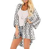 CofeeMO Fashion Snake Print 3/4 Sleeve Kimono Cardiagan for Women, Summer Swim Cover Ups Blouses Tops(Gray,XXL)
