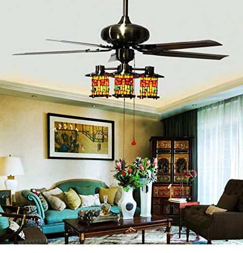 Makenier Vintage Tiffany Style Stained Glass 4-Light Dragonfly Downlight Ceiling Fan Light Kit, with Metal Blades ()